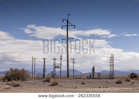 An Electrical Substation In Desert Surroundings At Death Valley Junction, California.