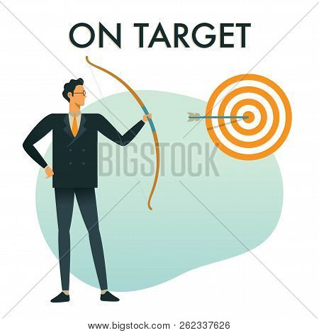 Businessman Hits On Sales Target. Vector Illustration Of Flat Styled Businessman Hitting The Target