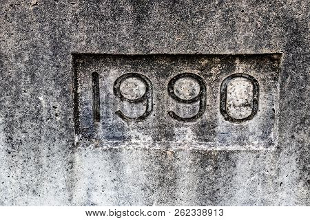 Concrete Cement Bridge Year Stamp Showing The Year 1990