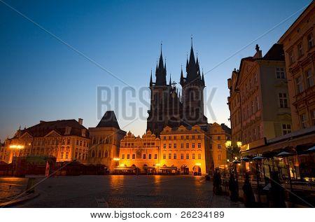Old Town Square at night (Staromestske Namesti), Prague, Czech Republic