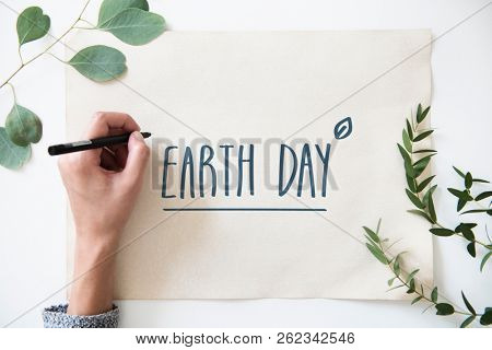 Earth day card supporting environmental protection
