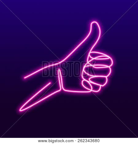 Neon Like Sign With Glowing Tubes, One Line Drawing Of Hand Showing Great Sign. Continuous Line Fing