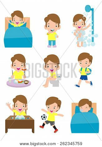 Daily Routine Activities For Kids With Cute Boy,routines For Kids, Daily Routine Of Children, Little