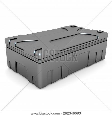 Military Metallic Box On White Background. 3d Render.