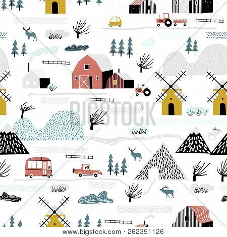 Seamless Winter Landscape. Pattern With House, Trees, Horses, Mills And Hills. Europe Nature Landsca