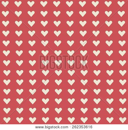 White Cute Little Heart Shape Pattern On Red Background. Heart Pattern Background Look Sweet And Bea