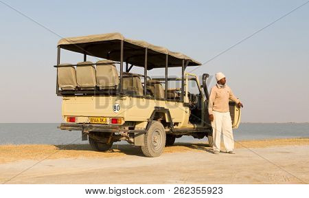 Sowa, Botswana, August 4, 2018 - Morning Game Drive Vehicle, Game Drives Are A Major Tourist Attract