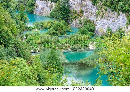 Beautiful cascade waterfalls in Plitvice Lakes National Park, Croatia