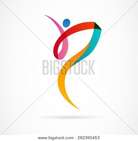 Abstract Human Figure Logo Design. Gym, Fitness, Running Trainer Vector Colorful Logo. Active Fitnes