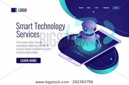 Smart Technology Icon Isometric, Artificial Intelligence Robot Assistant, Chatbot, Data Analysis