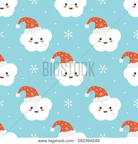 Cute Seamless Pattern Background For Winter Holidays Design With Snowflakes And Cloud Character In C
