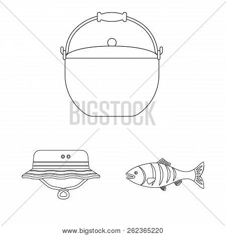 Vector Illustration Of Fish And Fishing Icon. Collection Of Fish And Equipment Vector Icon For Stock