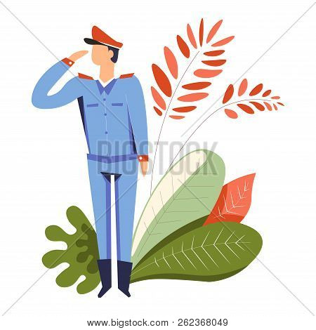 Military Man On Service Obeying Command, Leaves Decor Vector