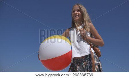 Happy Child On Beach, Kid On Seashore, Little Girl Laughing, Sea Waves Coastline