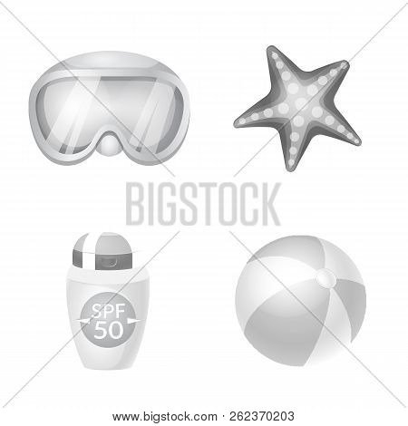 Vector Illustration Of Equipment And Swimming Icon. Set Of Equipment And Activity Stock Vector Illus