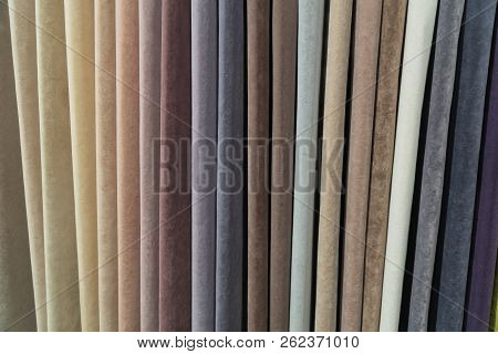 A Wide Selection Of Velour And Velvet Fabrics In The Store.