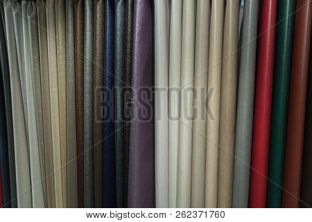 A Wide Selection Of Leather Fabrics In The Store.