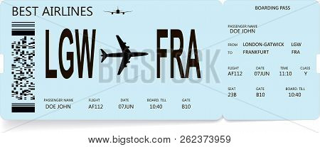 Airline Boarding Pass Or Airplane Ticket. Journey And Vacation Concept. Vector Boarding Pass In Ligh