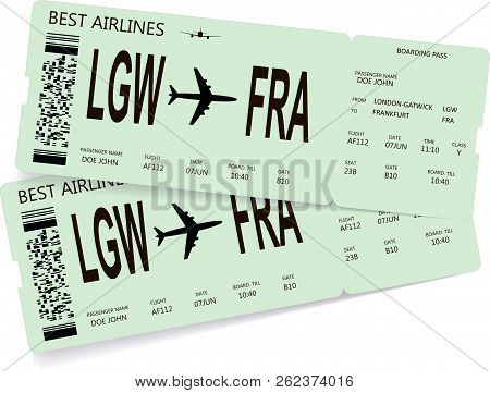 Vector Pattern Of Boarding Pass Or Plane Tickets. Concept Of Trip Or Travel By Airplane. Modern Vari