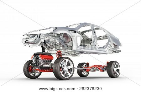 Body And Suspension Of The Car With Wheel And Engine Undercarriage With Bodycar In Detail Isolated O
