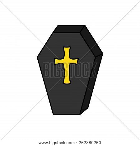 Hand Drawn Spooky Coffin Vector Illustration. Halloween Vampire Casket With Yellow, Gold Cross, Isol