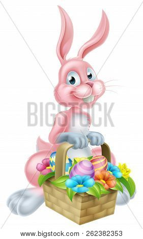 Pink Cartoon Easter Bunny Rabbit Holding An Easter Basket Full Of Easter Eggs And Flowers