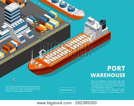 Sea Transportation Horizontal Sea Freight And Shipping Background With Isometric Seaport, Ships, Con