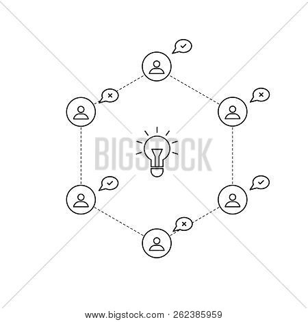 Vote For The Idea. Vector Outline People And Lightbulb.  Business Meeting. Idea Design. Brainstormin