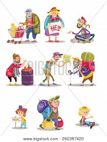 Homeless and beggars people cartoon illustration. Bum and homeless vagrant characters of woman and child begging alms, man panhandler in poverty at fire barrel flat isolated icons set poster