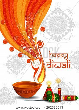 Colorful Fire Cracker With Decorated Diya For Happy Diwali Festival Holiday Celebration Of India Gre