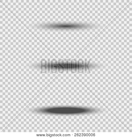 Different Transparent Black Oval Shadow Set With Soft Edge Isolated On White Background. Vector Divi