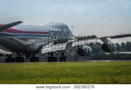 Amsterdam, Netherlands - July 25, 2017: Back View Of Boeing 747 Lx-tcv Of Cargolux Airlines Ride On