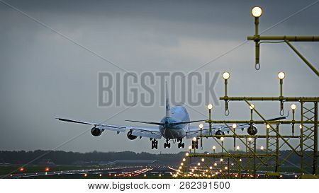 Amsterdam, Netherlands - July 28, 2017: Rear View Of Jumbojet Boeing 747 Of Klm Airlines Landing At