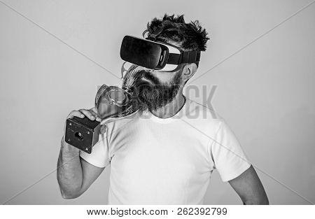 Achievement Unlocked. Man Bearded Hipster Vr Headset Holds Golden Goblet. Man Winner Virtual Competi