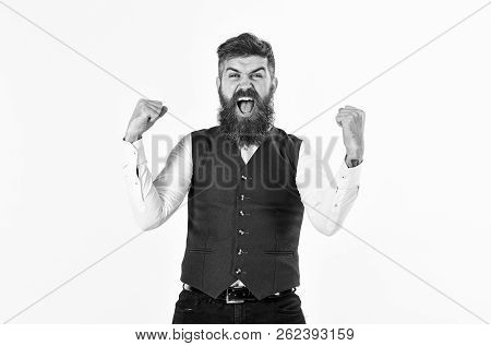 Brutal Man Shouting And Celebrating Victory. Happy Businessman With Emotional Face. Bearded Man Chee