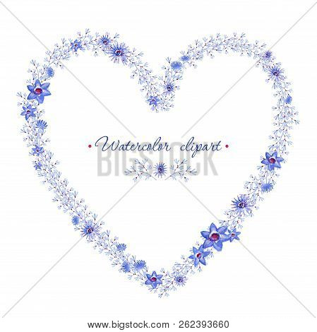 Floral Blue Wreath Heart Shaped. Cliparts For Wedding Design, Artistic Creation.