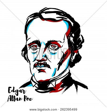 Edgar Allan Poe Engraved Vector Portrait With Ink Contours. American Writer, Editor, And Literary Cr