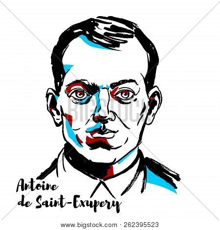 Moscow, Russia - September 26, 2018: Antoine De Saint-exupery Engraved Vector Portrait With Ink Cont