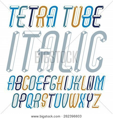 Vector Trendy Modern Capital, Uppercase Alphabet Letters Collection. Unlike Italic Condensed Type Fo