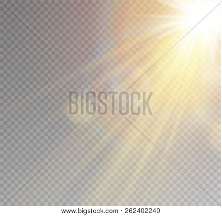 Sunlight A Translucent Special Design Of The Light Effect. Vector Blur In The Light Of Radiance. Iso