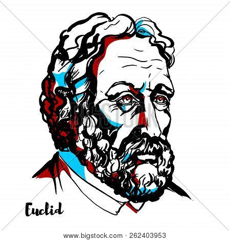 Euclid Engraved Vector Portrait With Ink Contours. Greek Mathematician, Often Referred To As The