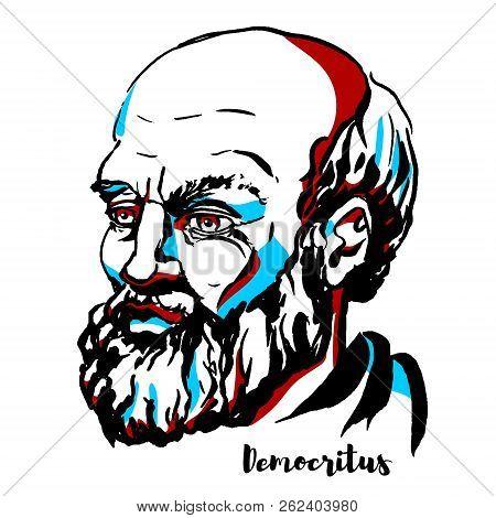 Democritus Engraved Vector Portrait With Ink Contours. Ancient Greek Pre-socratic Philosopher Primar