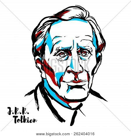 Moscow, Russia - August 21, 2018: J.r.r. Tolkien Engraved Vector Portrait With Ink Contours. English