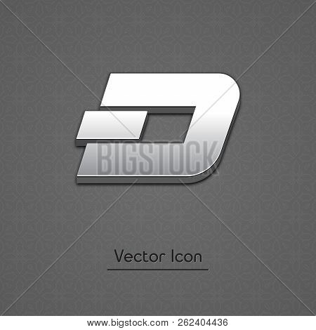 Dash Coin Isolated Web Vector Icon. Dash Coin Trendy 3d Style Vector Icon. Raised Symbol Illustratio