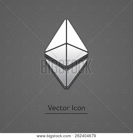 Ethereum Coin Symbol Isolated Web Vector Icon. Ethereum Coin Trendy 3d Style Vector Icon. Raised Sym