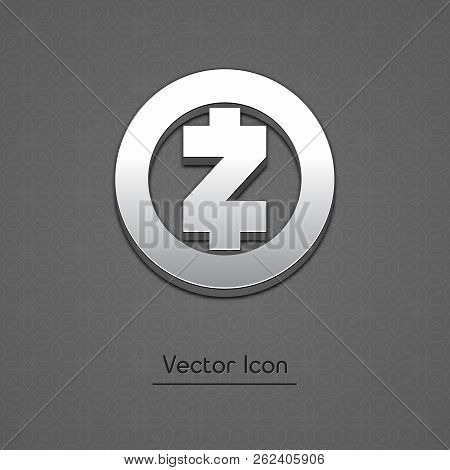 Zcash Coin Symbol Isolated Web Vector Icon. Zcash Coin Trendy 3d Style Vector Icon. Raised Symbol Il