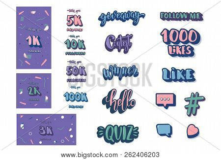 Set Of  Social Media Templates And Elements. Banners  And Decoration For Internet Networks.  1k, 2k,