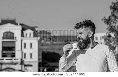 Man With Long Beard Enjoy Coffee. Morning Coffee Concept. Bearded Man With Little Mug, Drinks Coffee