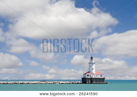 Chicago lighthouse on breakwall in Lake Michigan