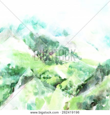 A Watercolour Painting Of A View Over Misty Mountains, With A Place For Text